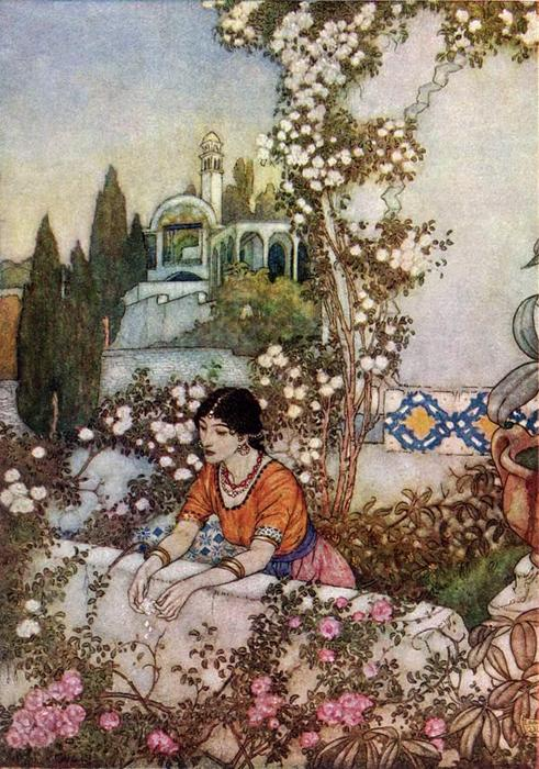 Questa immagine ha l'attributo alt vuoto; il nome del file è edmund-dulac-the-rubaiyat.-blowing-rose.jpg